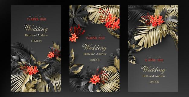Set di modello di scheda dell'invito di nozze con foglie nere e oro tropicale