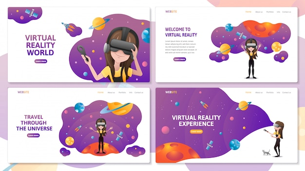 Set di modello di sito web pagina di destinazione tecnologia di realtà virtuale. ragazza con auricolare vr nello spazio esterno con pianeti e rucola. illustrazione piatta