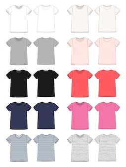 Set di modello di t-shirt unisex schizzo tecnico. vettore anteriore e posteriore.