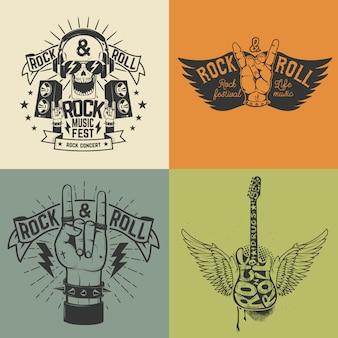 Set di modello di volantino del festival rock.