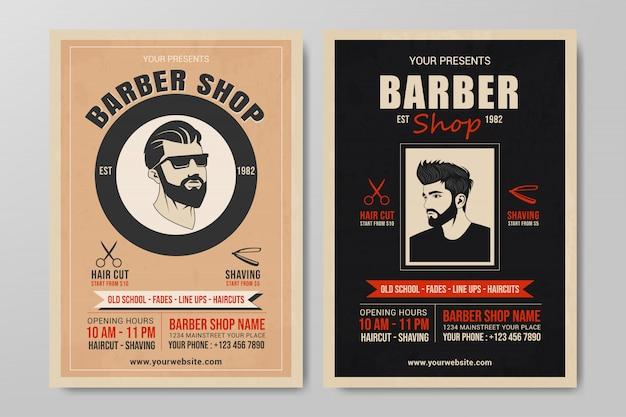 Set di modello di volantino del negozio di barbiere