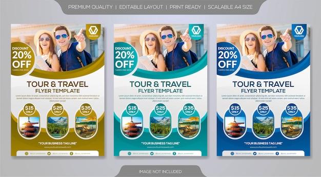 Set di modello di volantino per tour operator o agenzia di viaggi