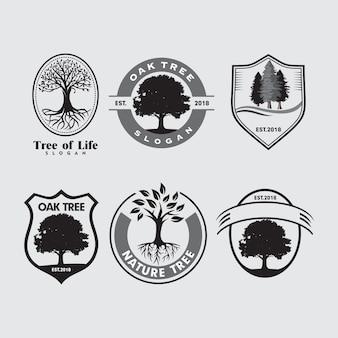 Set di modello emblema logo degli alberi della natura