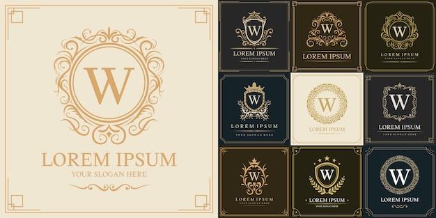 Set di modello logo di lusso, lettera iniziale tipo w