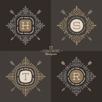Set di modello logo monogramma con svolazzi calligrafici eleganti elementi di ornamento.