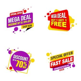 Set di modello moderno mega promozione banner di vendita