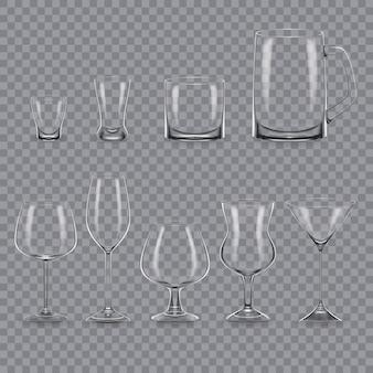Set di modello realistico di bicchieri e tazze vuoti di alcol trasparente.
