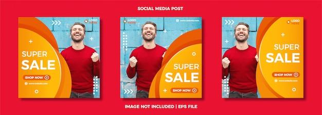 Set di modello semplice post social media sociali.