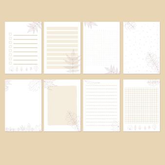 Set di modello stazionario autunno minimalista semplice