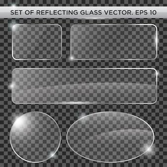 Set di modello vettoriale di vetro riflettente