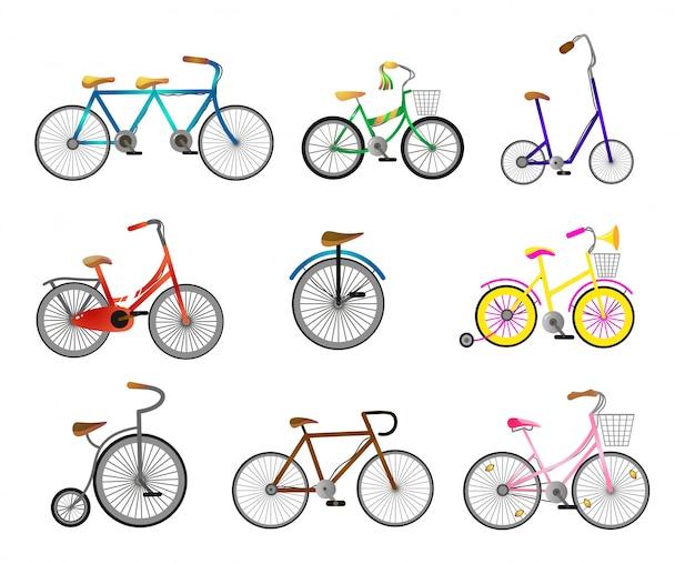Set di moderna bicicletta retrò per giro in strada della città