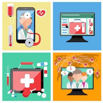 Set di moderni dispositivi smartphone, monitor, tablet e monitoraggio medico della distanza medica online