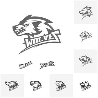 Set di moderno logo Wolf professionale