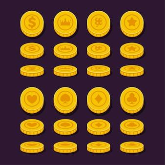 Set di monete di posizione diverse per gioco, design piatto.