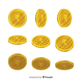 Set di monete rupia indiana in diverse posizioni
