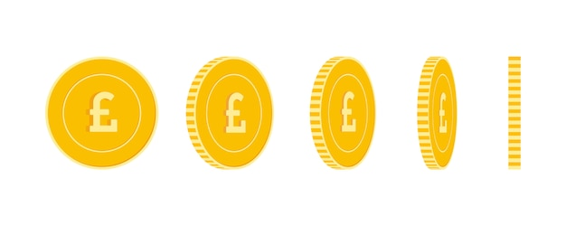 Set di monete sterlina britannica, animazione pronta. rotazione di monete gialle gbp. soldi metallici del regno unito