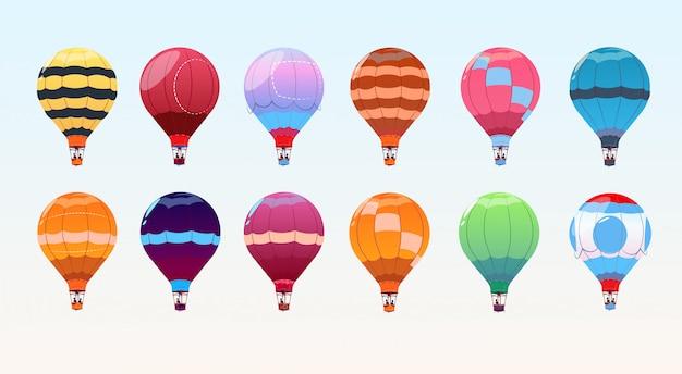 Set di mongolfiere colorate, collezione dirigibile