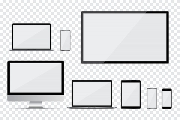 Set di monitor del computer, tv, laptop, smartphone e tablet con schermo vuoto