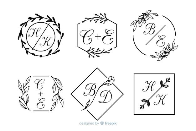 Set di monogramma di nozze ornamentale