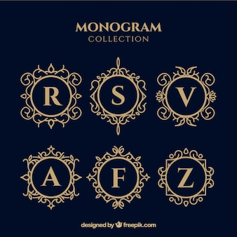 Set di monogrammi d'oro eleganti