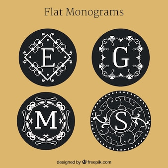 Set di monogrammi in design piatto