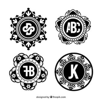 Set di monogrammi ornamentali d'epoca