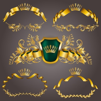 Set di monogrammi oro vip per la progettazione grafica. elegante cornice aggraziata, nastro, bordo in filigrana, corona in stile vintage
