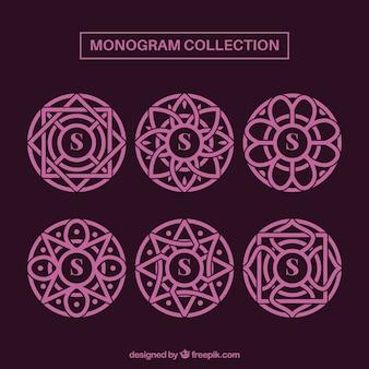 Set di monogrammi rosa