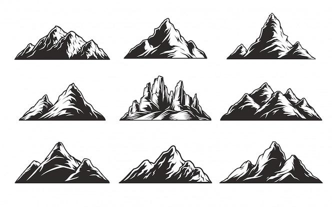 Set di montagne monocromatiche vintage