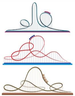 Set di montagne russe. illustrazioni in stile cartone animato isolato su sfondo bianco.