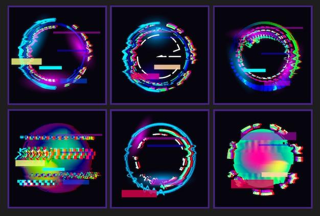 Set di montature per montature di glitched oval.