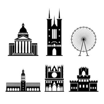 Set di monumenti di lione in silhouette