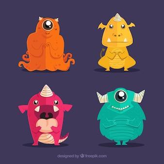 Set di mostri colorati in mano disegnato stile