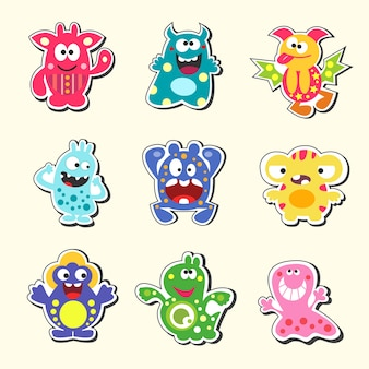 Set di mostri dei cartoni animati