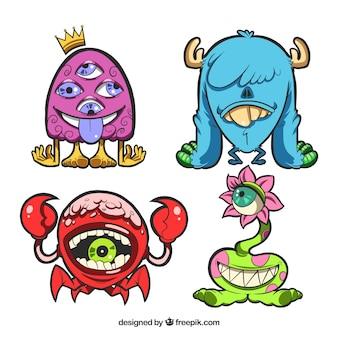Set di mostri di personaggi con facce buffe