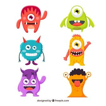 Set di mostri divertenti in stile piano