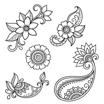 Set di motivi floreali mehndi per disegno e tatuaggio all'henné. decorazione in stile etnico orientale, indiano. ornamento doodle. illustrazione di vettore di tiraggio della mano del profilo.