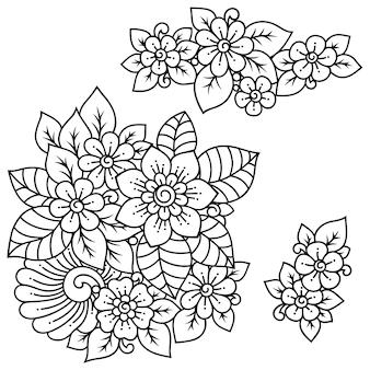 Set di motivi floreali mehndi per disegno e tatuaggio all'henné. decorazione in stile etnico orientale, indiano.