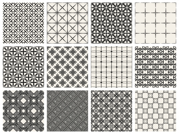 Set di motivi geometrici monocromatici.