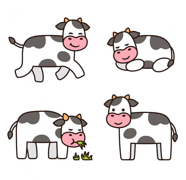 Set di mucca simpatico cartone animato
