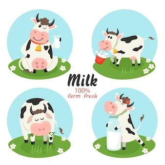 Set di mucche fattoria con bottiglia di latte