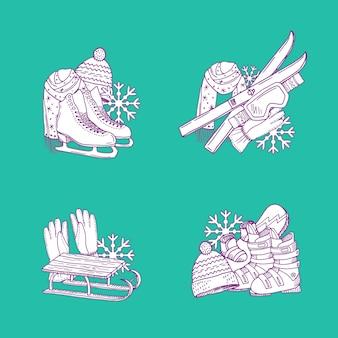 Set di mucchi di attrezzature sportive invernali disegnato a mano.