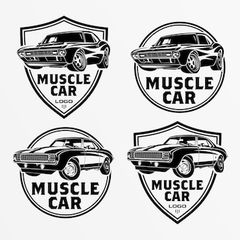 Set di muscle car logo, emblemi, distintivi. servizio di riparazione auto, restauro auto e elementi di design del club di auto. vettore.