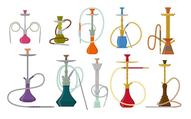 Set di narghilè con pipa per fumare tabacco e shisha. raccolta su sfondo bianco. illustrazione
