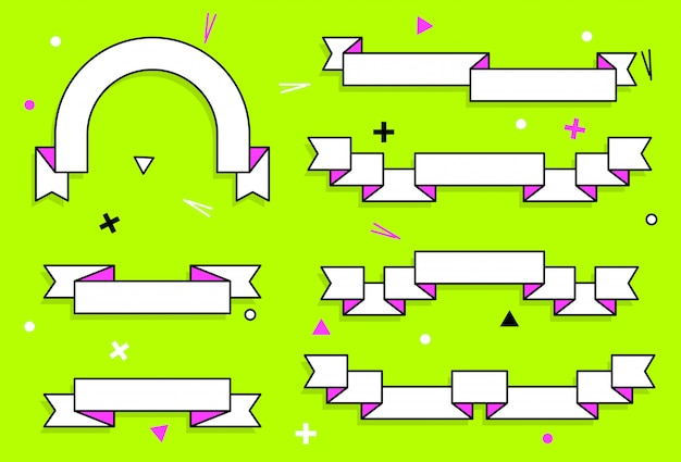 Set di nastri alla moda vettore geometrico piatto.