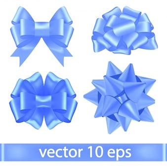 Set di nastri blu legati in fiocchi lussureggianti.