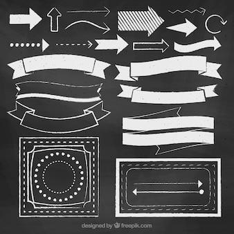 Set di nastri, cornici e frecce in stile lavagna
