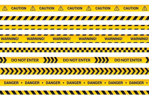 Set di nastri di avvertenza, strisce di avvertimento gialle, simbolo di pericolo, frecce, linee gialle con testo nero e segno triangolare. raccolta isolata insegna piana con l'illustrazione del messaggio di attenzione.