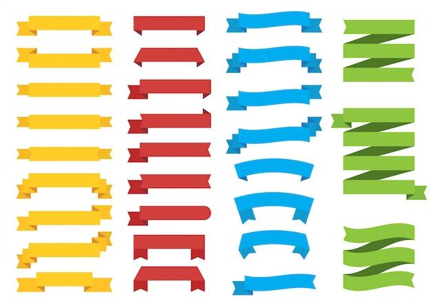 Set di nastri di colore diverso su bianco
