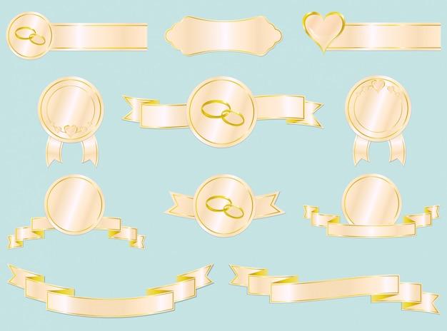 Set di nastri di nozze e amore, badge ed etichette.